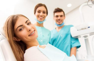 young woman with 2 dentist