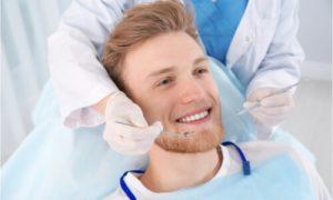The man has regular dental treatment.